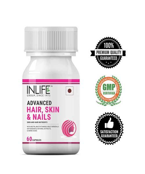 Inlife Biotin Advanced Hair Skin & Nails Supplement with Multivitamin Minerals Amino Acids for Hair Growth 60 Capsules