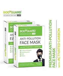 Bodyguard Anti Pollution Face Mask with Activated Carbon, N99 + PM2.5 (Pack of 2)