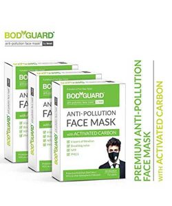 Bodyguard Anti Pollution Face Mask with Activated Carbon, N99 + PM2.5 (Pack of 3)