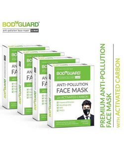 Bodyguard Anti Pollution Face Mask with Activated Carbon, N99 + PM2.5 (Pack Of 4)