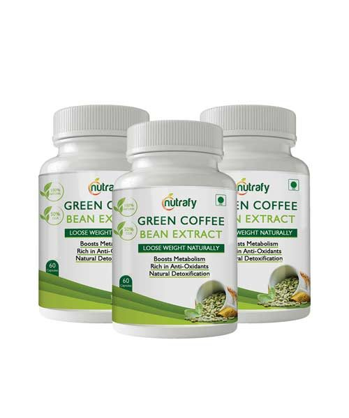 Nutrafy Pure Green Coffee Bean Extract 50% CGA 800 Mg 60 Capsules Weight Loss Supplement (Pack of 3