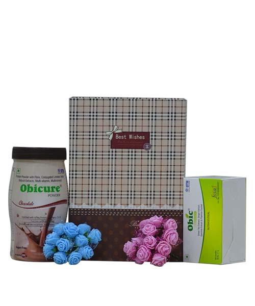 Obicure Powder (Chocolate Flavour) with Obic Green Tea Gift Hamper