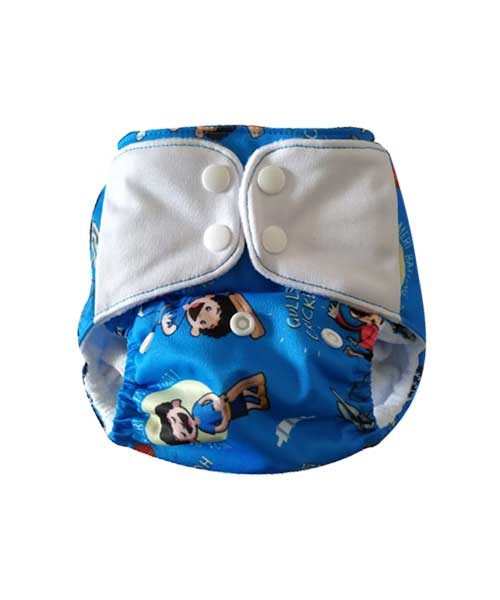 Superbottoms-Plus-UNO-Reusable-cloth-diaper-with-2-Organic-Cotton-dry-feel-soakers-[Day-_-Night-Use]--Gully-Cricket-(Blue)