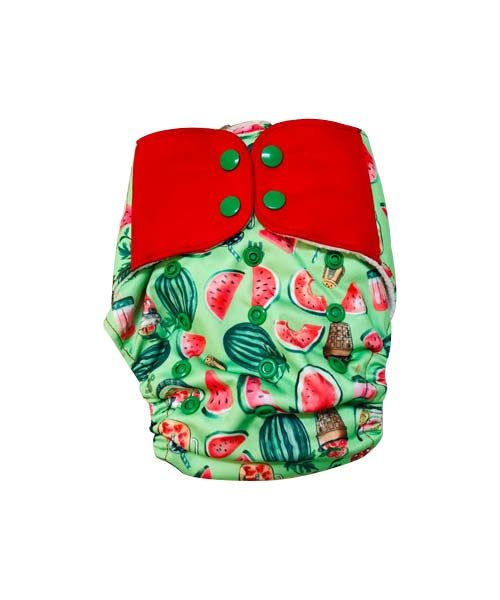 Superbottoms-Plus-UNO-Reusable-cloth-diaper-with-2-Organic-Cotton-dry-feel-soakers-[Day-_-Night-Use]--Melon-Splash