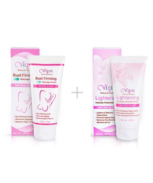 Vigini Breast Firming Cream with Vaginal Lightening Intimate Wash