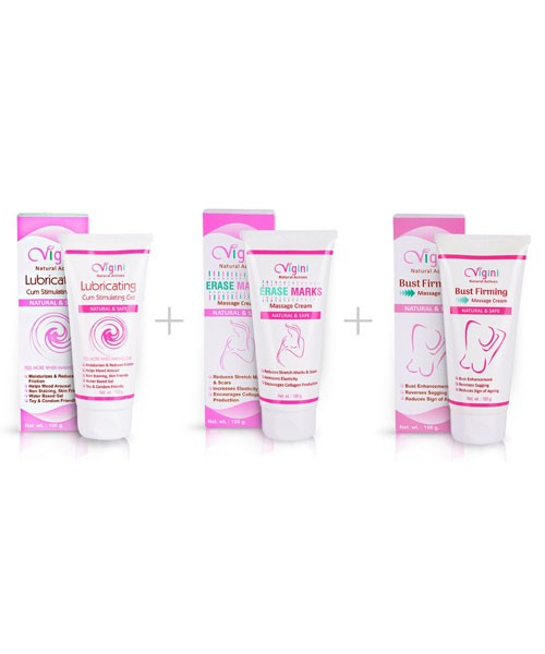 Vigini Vaginal Lubricating Cum Stimulating Gel with Stretch Marks Massage Cream with Breast Firming Enhancement(Bust)Cream