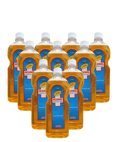 Hexinol Antiseptic liquid (1 Litre) - Pack of 10