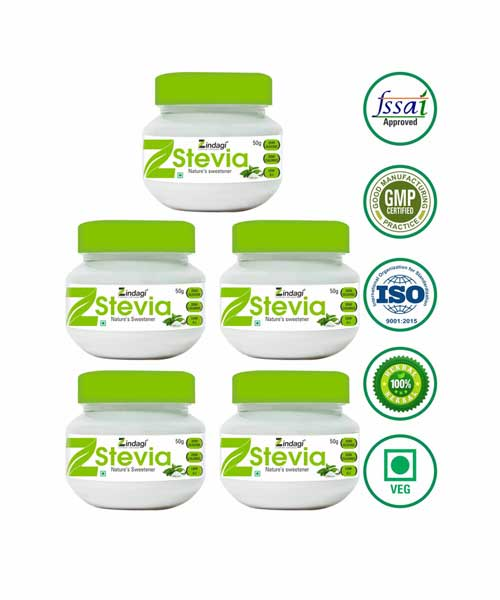 Zindagi-Stevia-White-Powder---Natural-Sweetners---Sugar-free-(50-gm)---(Pack-of-5)