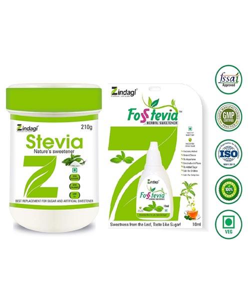 Zindagi-Stevia-Powder-210gm-&-FosStevia-Liquid---Sugarfree-Stevia-White-Powder---Stevia-Drops-(Combo-Pack)