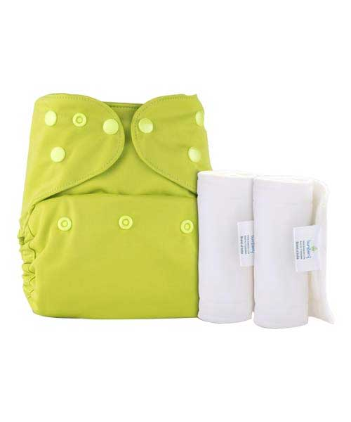 Bumberry-Pocket-Diaper-(Bright-Green)-+-2-Wet-Free-Insert